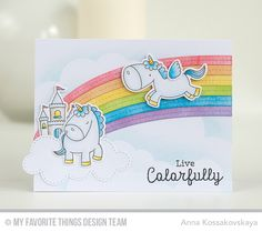 Magical Unicorns, Magical Unicorns, Rainbow Greetings, End of the Rainbow Die-namics, Stitched Cloud Edges Die-namics - Anna Kossakovskaya #mftstamps