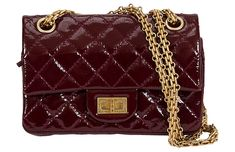 Vintage Lux Chanel Mini Reissue Double Flap Purse, Chanel mini reissue double flap purse in quilted burgundy patent leather with gold-tone hardware. Shoulder drop, Comes with hologram, ID card, and dust cover. Chanel Handbags, Luxury Handbags, Fashion Handbags, Purses And Handbags, Fashion Bags, Chanel Mini, Chanel Boy Bag, Chanel Bags, Channel