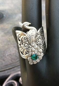 Silver Peacock Filigree Adjustable Ring with Emerald Swarovski Crystal