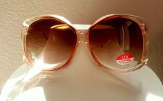 1970 True Vintage Oversize Womens sunglasses Peachy color New Old stock #Retro