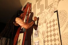 Damien Young Paints the #discoknights #mural for the #2012 #burningman #fundraiser