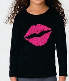 Girl's Valentine's Day Shirt ~ Large Lips Glitter KISS