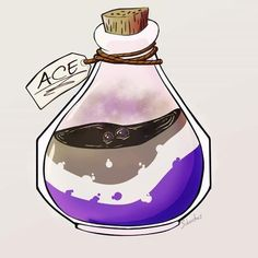'Asexual bottle' Sticker by Sckorches Lgbt Anime, Ace Pride, Gay Aesthetic, Lgbt Love, Lgbt Community, Transgender, Just In Case, Saga, Equality