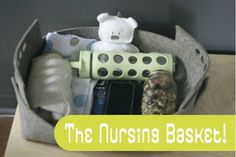 Nursing basket to keep everything handy while breastfeeding. Note: A rigid basket with a handle is a must so you can grab it while holding the baby and everything stays in place. Baby E, Our Baby, Baby Kids, Breastfeeding And Pumping, Everything Baby, Having A Baby, Baby Fever, Future Baby, Just In Case