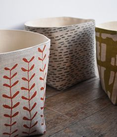 Patterned linen storage boxes by bookhou at home. Small Storage Boxes, Fabric Storage Boxes, Linen Storage, Storage Bins, Storage Containers, Storage Ideas, Basket Storage, Fabric Boxes, Deco Design