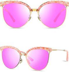 57e841d12ef ATTCL Gold Metal Frame Round Trim Aviator Style Women s Cat Eye Sunglasses  Women s Sunglasses