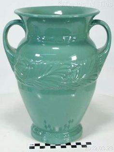 """Vintage Large 9 3 4"""" Abingdon Vase 117 Green Glaze Acanthus Leaf Design   eBay  http://www.ebay.com/sch/tiques_n_ties/m.html  $65.00"""