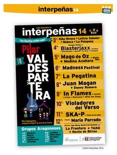 Conciertos de Pilares 2014 en Interpeñas Zaragoza (Federación Interpeñas). Consulta aquí también la localización de las Carpas de Interpeñas. Fiestas del Pilar 2014.