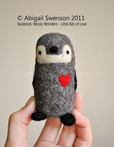 SALE: AdoraWools Needle Felted Love Penguin with by AdoraWools