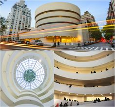 """Named for the American art collector and museum founder Solomon R. Guggenheim, this cylindrical, seashell-like art museum was designed by Frank Lloyd Wright. Hilla von Rebay, the museum's first director, commissioned Wright to create a """"temple of the spirit"""" that would reimagine how audiences would view modern masterpieces."""
