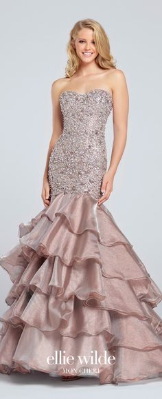 Prom Dresses 2017 - Ellie Wilde for Mon Cheri - Bronze Beaded Prom Dress with Multi-Tiered Skirt - Style No. EW117153