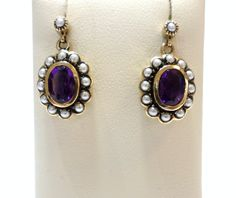 Jewellery 9ct Yellow Gold Amethyst and Cultured Freshwater Seed Pearl Drop Stud Earrings Antique Vintage Reproduction £295.00 Contact us at www.facebook.com/ellisondavisjewellery for more information