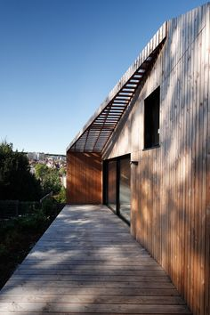 Image 9 of 16 from gallery of Extension to a House in Meudon / CUT Architectures. Photograph by David Foessel Studios Architecture, Architecture Photo, Beautiful Architecture, Beautiful Buildings, Modern Residential Architecture, Wooden Facade, Timber House, Wooden House, Interior Design Boards