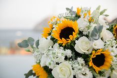 Destination Wedding Ideas + Advice for Globetrotting Brides and Grooms White Rose Bouquet, White Roses Wedding, Daisy Wedding, Sage Wedding, Wedding Wall, Floral Wedding, Wedding Flowers, Dream Wedding, Sunflower Wedding Decorations
