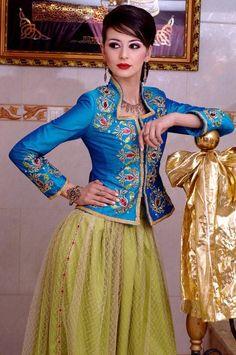 Algerian Fashion: Blue and Green Karakou Dress
