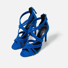 Shop Women's Zara Blue size Shoes at a discounted price at Poshmark. Description: NWT in box - Zara - size 7 - blue Strappy heel sandal - 3 heel - perfect year around heel - staple for any closet. Bridesmaid Shoes, Zara Shoes, Blue Suede, Women's Shoes Sandals, Heeled Sandals, Zara Sandals, Collection, Pumps