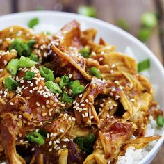 Slow Cooker Honey Teriyaki Chicken Recipe Main Dishes with boneless chicken breast, soy sauce, honey, rice vinegar, onions, garlic cloves, pepper, ground ginger, water, corn starch, sesame seeds, green onions