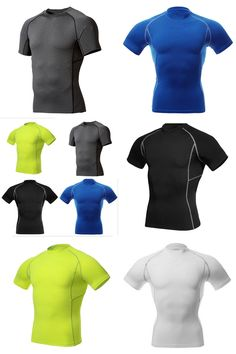 [Visit to Buy] New Men's Quick Dry Compression Wear Under Base Layer Tops Tight Shorts Sleeve Sports T-Shirts Sportswear Accessories #Advertisement