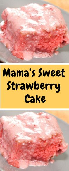 Mama's Sweet Strawberry Cake Ingredients: 1 BOX White cake mix 1 BOX Strawberry gelatin (small box) 1 CUP Oil CUP Milk 4 Eggs 1 CUP Mashed sweetened strawberries (not drained) Frosting: 1 Stick butter, softened 1 lb BOX of Köstliche Desserts, Delicious Desserts, Dessert Recipes, Yummy Food, Food Cakes, Cupcake Cakes, Cupcakes, Strawberry Cake Recipes, Strawberry Cake Mix Cookies