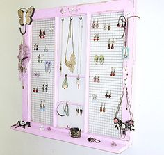 Upcycled Window Frame Pink Window Jewelry Holder by LaVieilleLune, $50.00