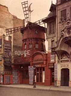 Early color image of the Moulin Rouge, Paris France