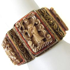 Antique Chinese Export Coral & Sterling Silver Filigree Bracelet + Earrings Set