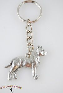 Pit Bull Dog Fine Pewter Silver Keychain Key Chain Ring available at www.DogLoverStore.com