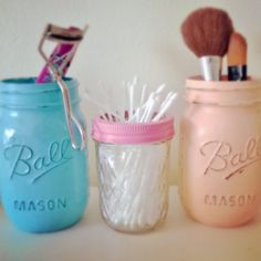 Mason Jars hand painted in a beachy shabby chic effect perfect for your home, office or wedding