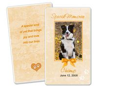 Blue Pet Memorial Flat Card Templates Edit In Microsoft Word