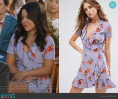 Mariana's purple floral ruffle dress on The Fosters.  Outfit Details: https://wornontv.net/93721/ #TheFosters