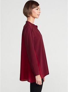 Mandarin Collar Boxy Shirt in Silk Crepe de Chine with Colorblock