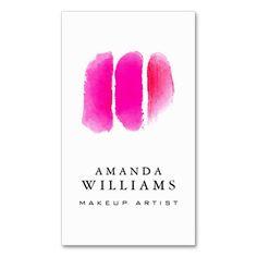 Pink Watercolor Makeup Swatches Makeup Artist Business Card Templates