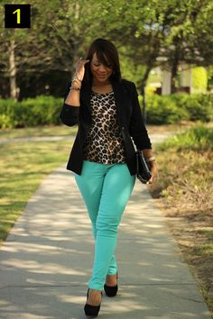 Love the green skinny and the leopard print