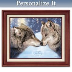 Gallery-worthy canvas print showcases Dan Smith's romantic wolf artwork and your two names in the snow. Presented in a mahogany-finished wooden frame.