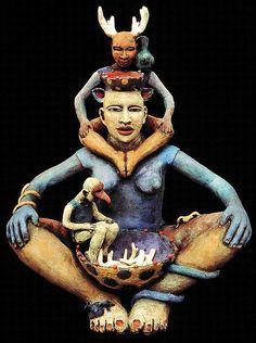 sculpture , ceramic Figurative ,artist and mixed media , painting Ceramic Figures, Creative Thinking, Ancient Art, Knights, Figurative, Sculpture Art, Art Dolls, Sculpting, Masks