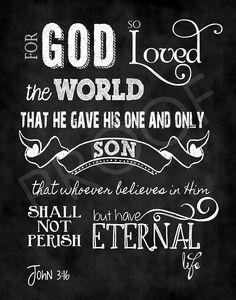 Mounted Scripture Art 11x14 - John 3:16 Chalkboard. $28.00, via Etsy.