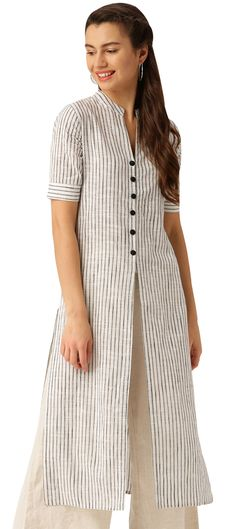 902975 White and Off White color family Cotton Kurtis in Cotton fabric with Printed work . Kurta Designs Women, Kurti Neck Designs, Blouse Designs, Khadi Kurta, Indian Tunic, Embroidered Tunic, Off White Color, Different Fabrics, Striped Dress