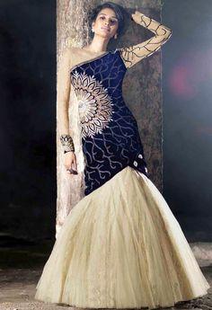 Blue Velvet, Net Palazzo Salwar Kameez With Embroidery Work 37210