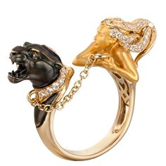 Instinto Dominio Ring A chainlink leash connects the panther and woman on each end of this reverse cuff ring, with a diamond-dotted collar and diamonds in the woman's hair. From the Instinto collection. yellow gold and black rhodium cts. High Jewelry, Jewelry Art, Antique Jewelry, Jewelry Rings, Jewelry Accessories, Vintage Jewelry, Fashion Jewelry, Jewelry Design, Jewellery