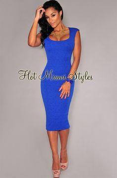 Royal-Blue Floral Textured Sleeveless Midi Dress