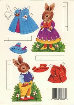 Peeps bunnies, paper dolls. Easter
