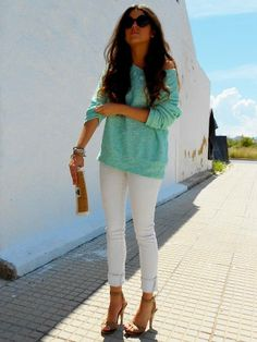 Mint For Spring  #Sandals #Jeans #Sweaters