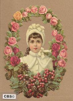 Meisje in bloemenkrans met rozen poezieplaatjes 5054