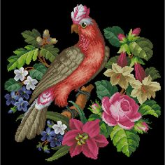 Gray cockatoo parrot vintage berlin woolwork cross stitch