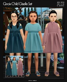 Child Giselle Set for The Sims 4 Toddler Maxi Dresses, Sims 4 Dresses, Sims 4 Cas, Sims Cc, Kids Outfits Girls, Dresses Kids Girl, The Sims 4 Bebes, Sims 4 Toddler, Toddler Girls
