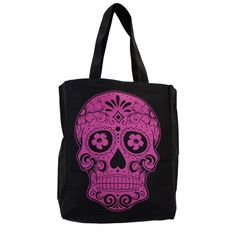 Black Tote Bag Beach Purse with Pink Day of the Dead Skull