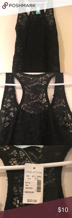 Black Lace Tank Black lace razor back Tank from Maurice's. New with tags. Maurices Tops Tank Tops