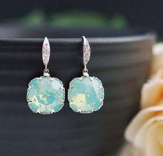 Bridesmaids Gift Wedding Bridal Earrings Bridesmaid Earrings Mint Pacific Opal Swarovski square Crystal drop dangle Earrings