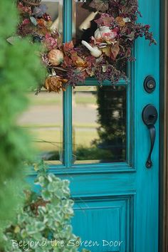 Beyond the Screen Door: Turquoise Front Door. Thinking to do this color, after I paint my ranch home gray. Old Doors, Windows And Doors, Turquoise Door, Teal Door, Turquoise Cottage, Front Door Colors, Front Doors, Exterior Doors, Curb Appeal