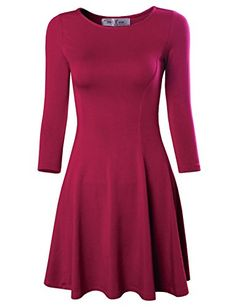 73530fc3731 Tom s Ware Women s Casual Slim Fit and Flare Round Neckline Dress at Amazon  Women s Clothing store
